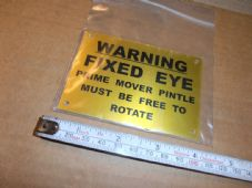 Trailer  pintle. Warning plate.